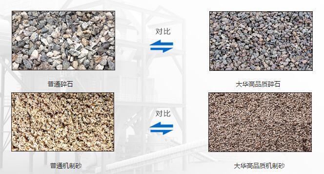 大华制砂颗粒与普通制砂对比图